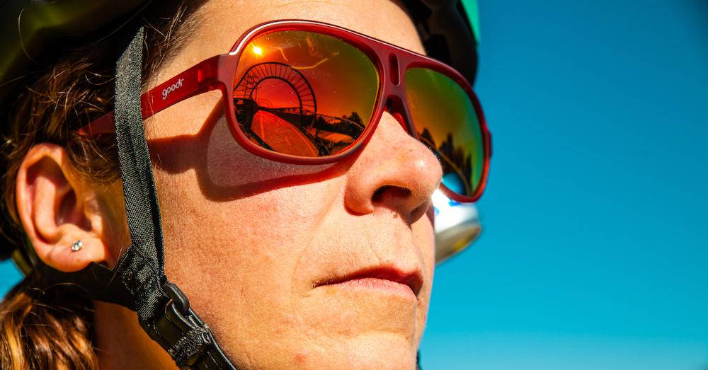 Goodr Lance's Afternoon Uppers Cycling Sunglasses Close up on Male Cyclist