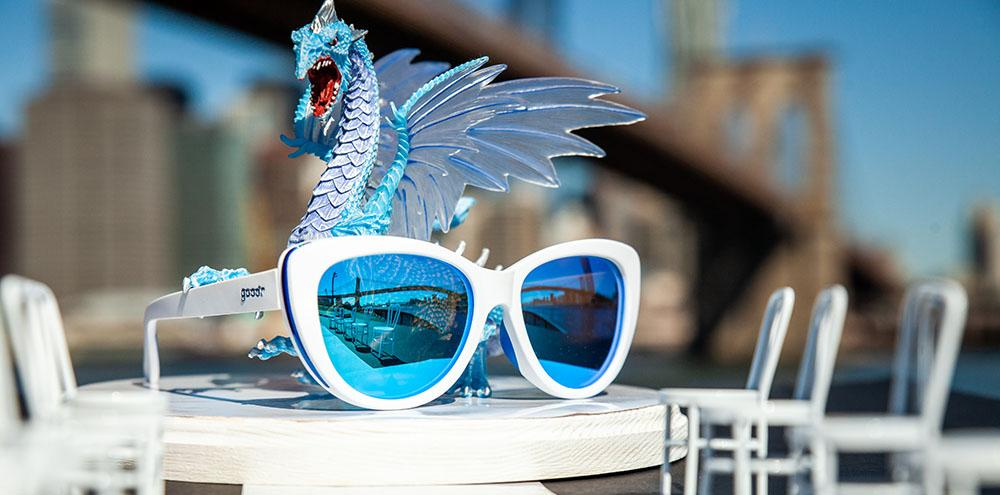 Goodr Iced by Zombie Dragons Cateye Polarised Sunglasses with City Background