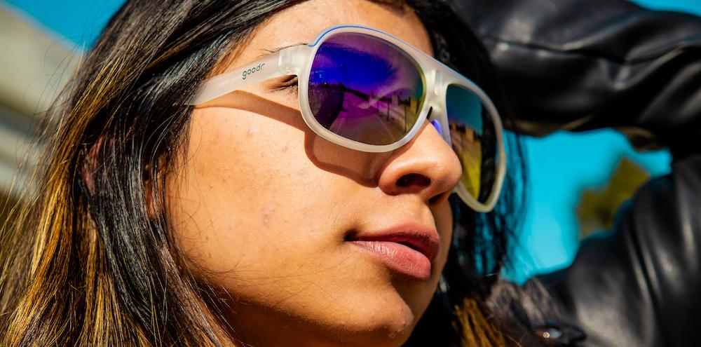 Close up of Women Wearing Sleazy Rider Cycling Sunglasses by Goodr