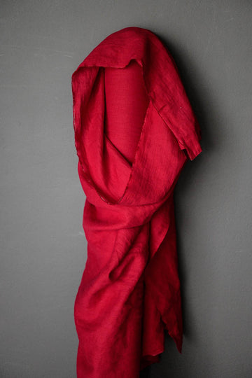 Linen Fabric - Demon Scarlet