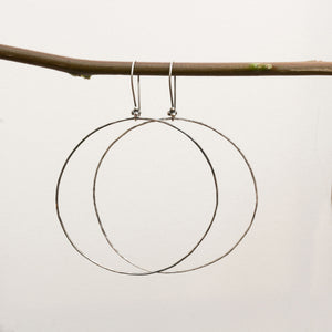 Black sterling silver hoop earrings
