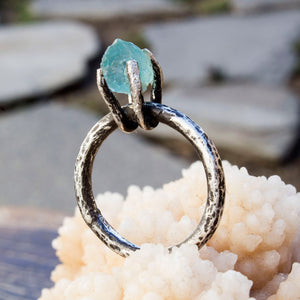 Apatite crystal black sterling silver ring