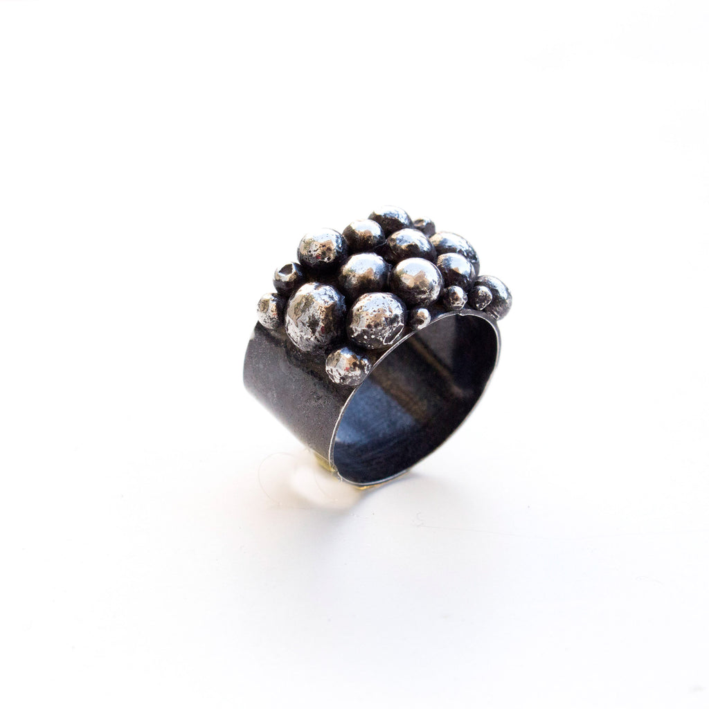 Bubble Black Silver Ring - Trendivine