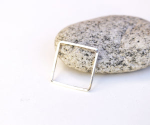 Simple sterling silver geometric square ring
