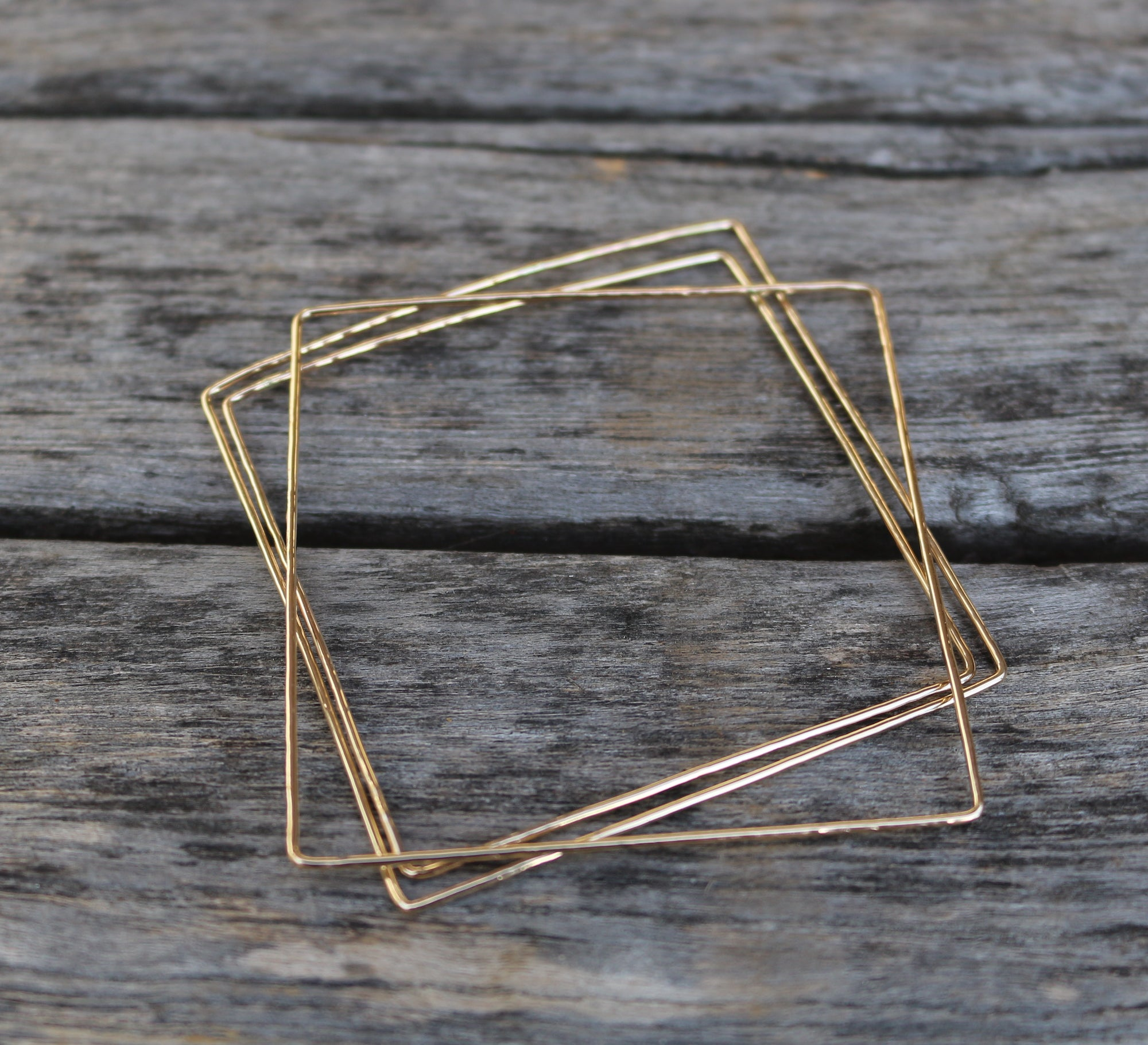 Simple gold filled dainty square bangle