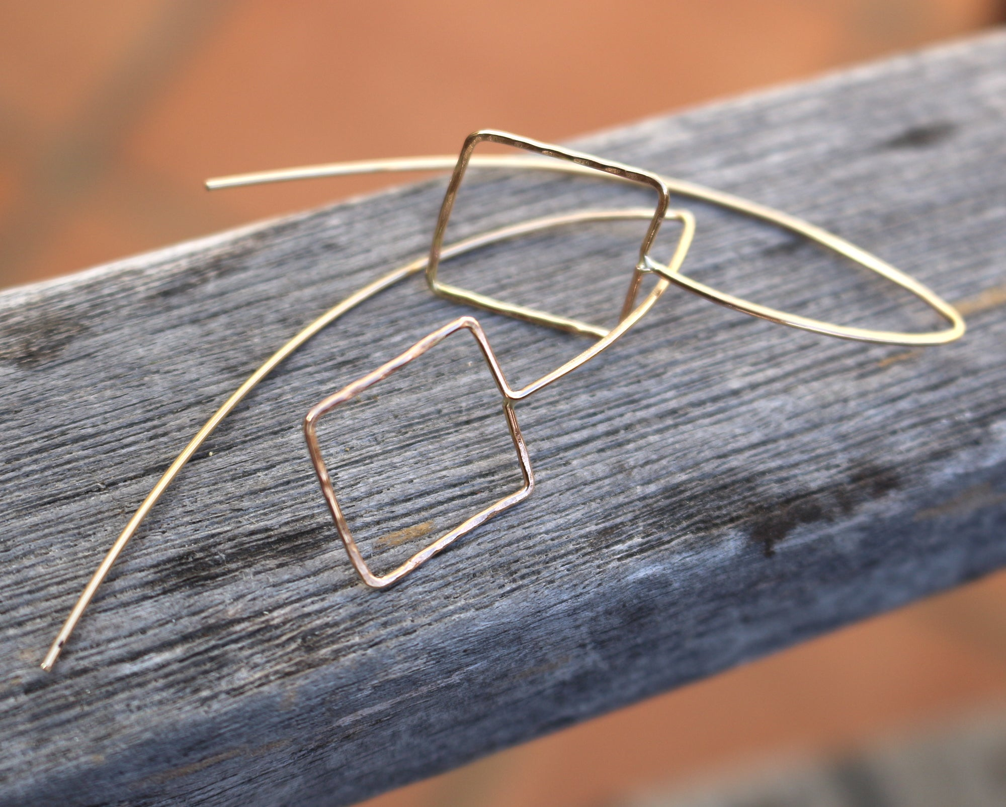 Square gold filled earrings