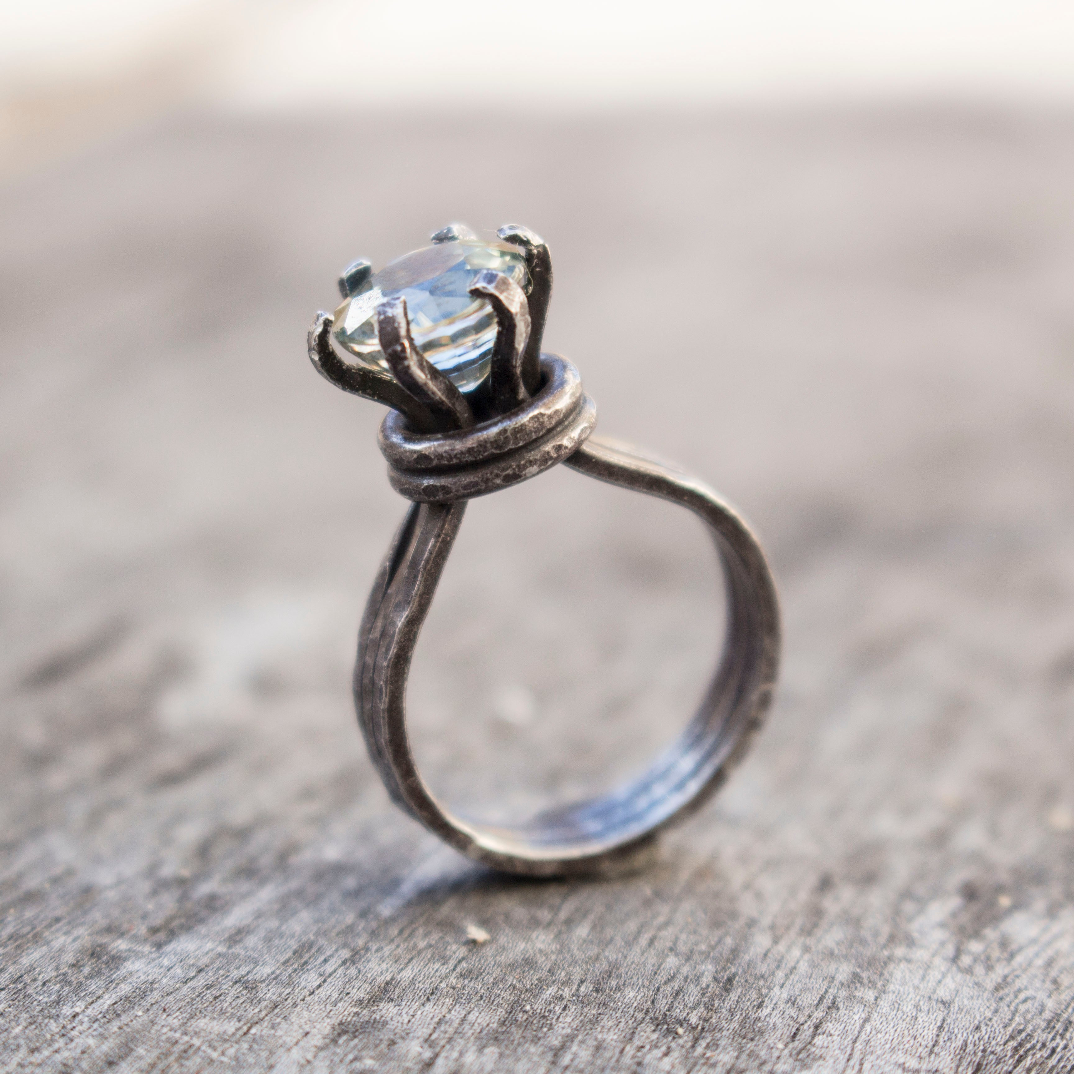 Faceted Cambodian Zircon on sterling silver ring