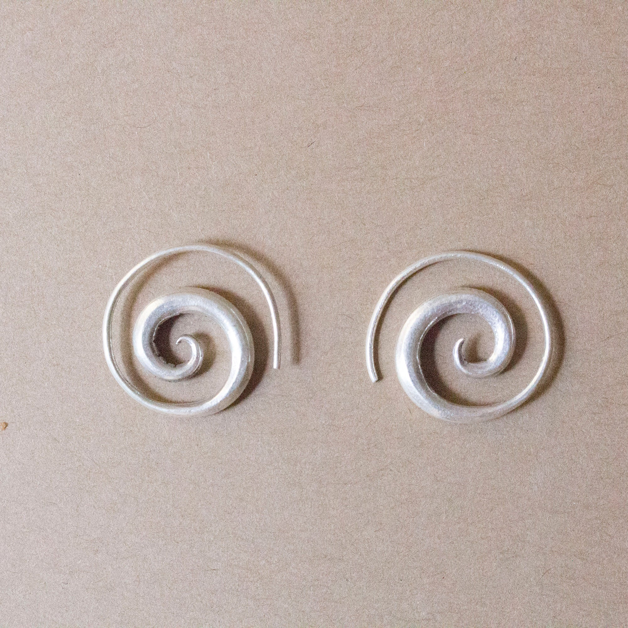 Spiral silver earring