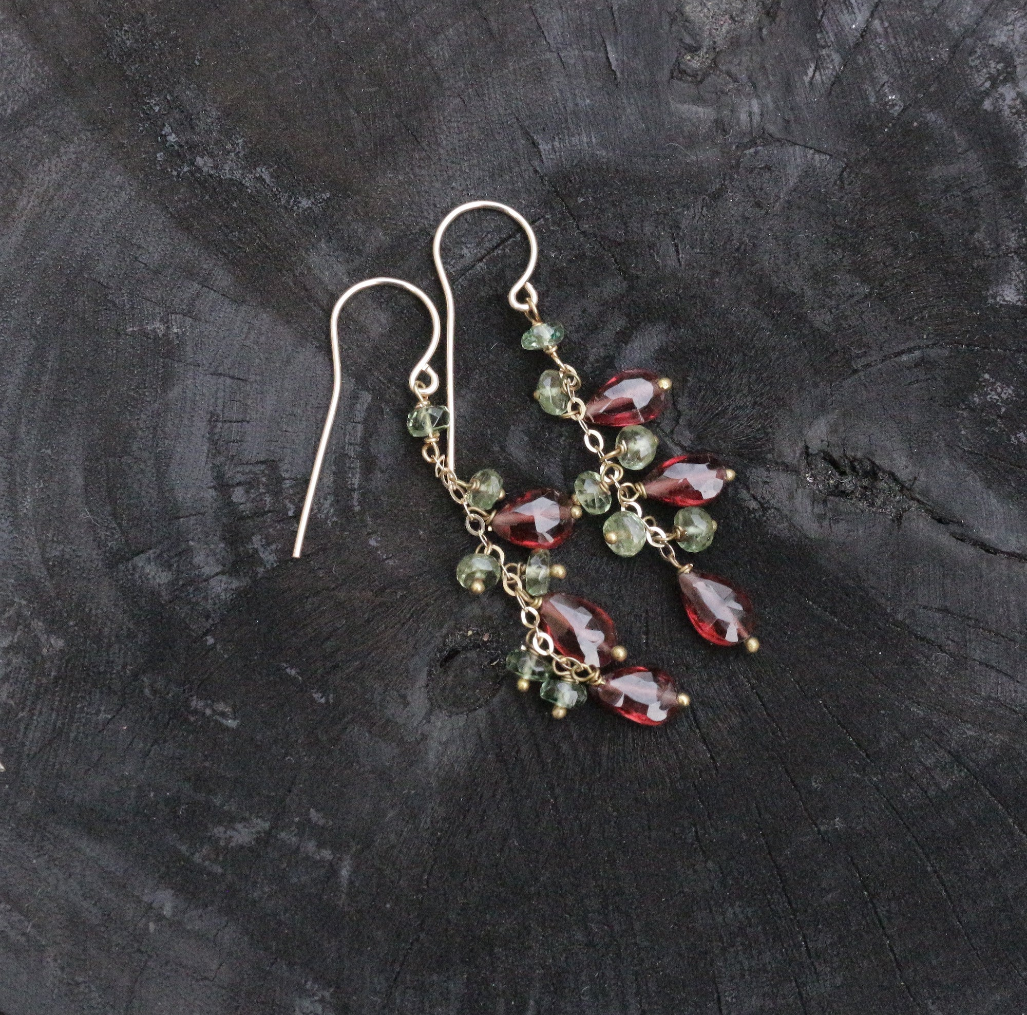 Garnet dangle drop gold filled earrings