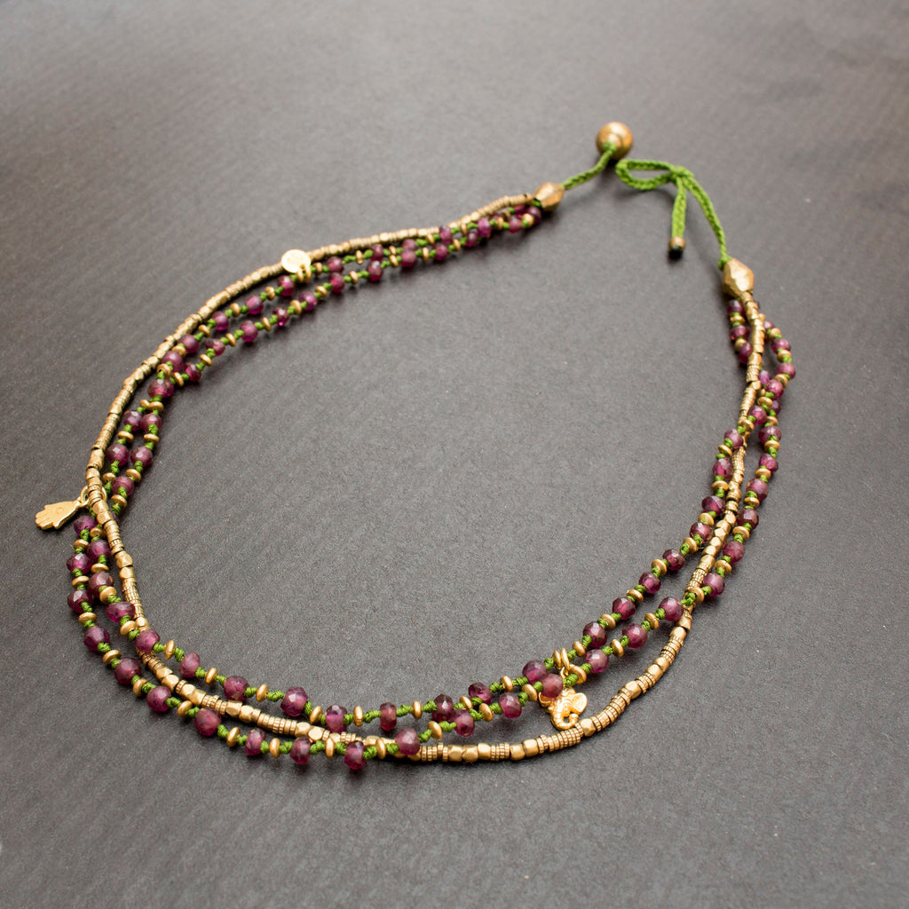 Multi strand Garnet Necklace