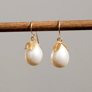 Teardrop seashell earrings