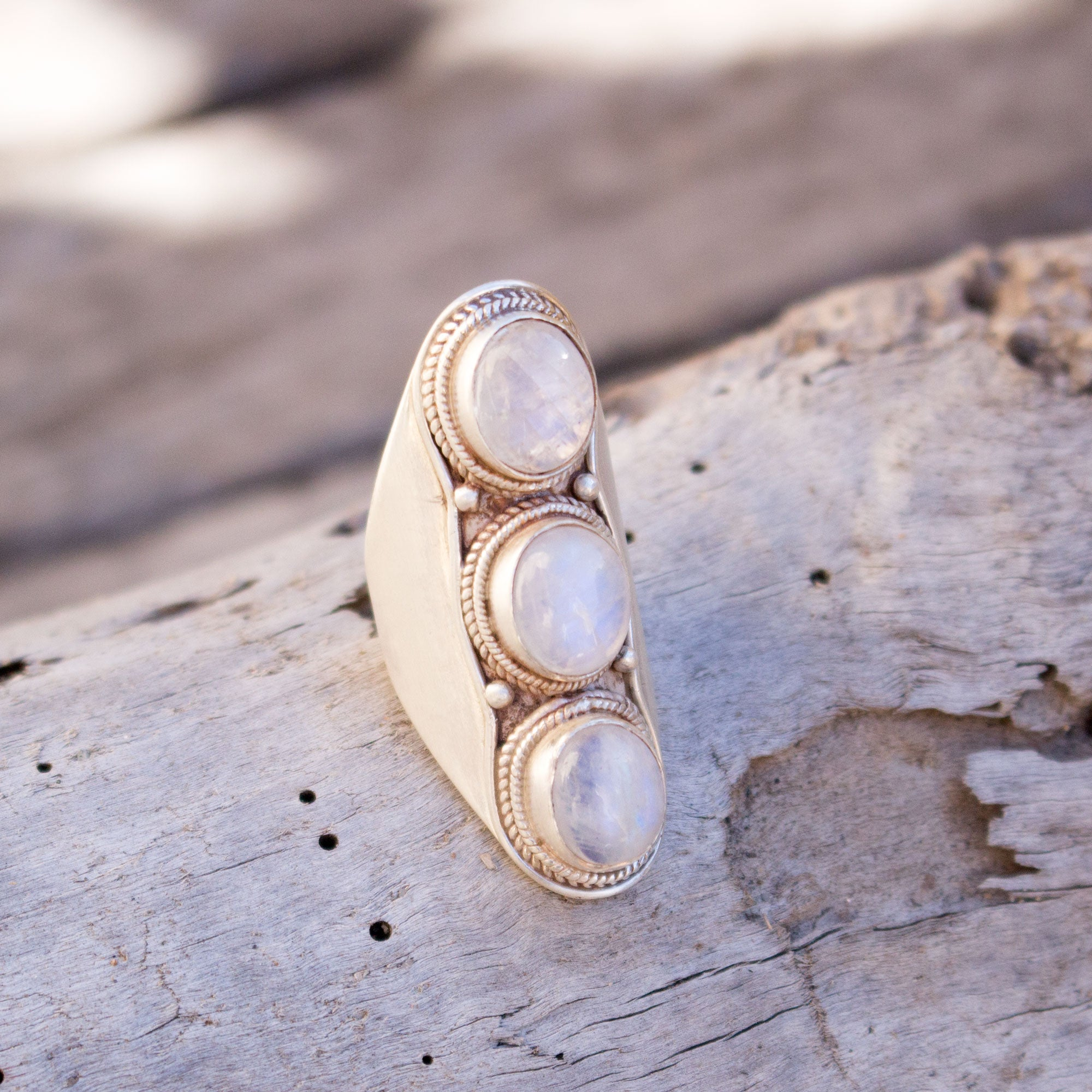 Rainbow moonstone saddle ring