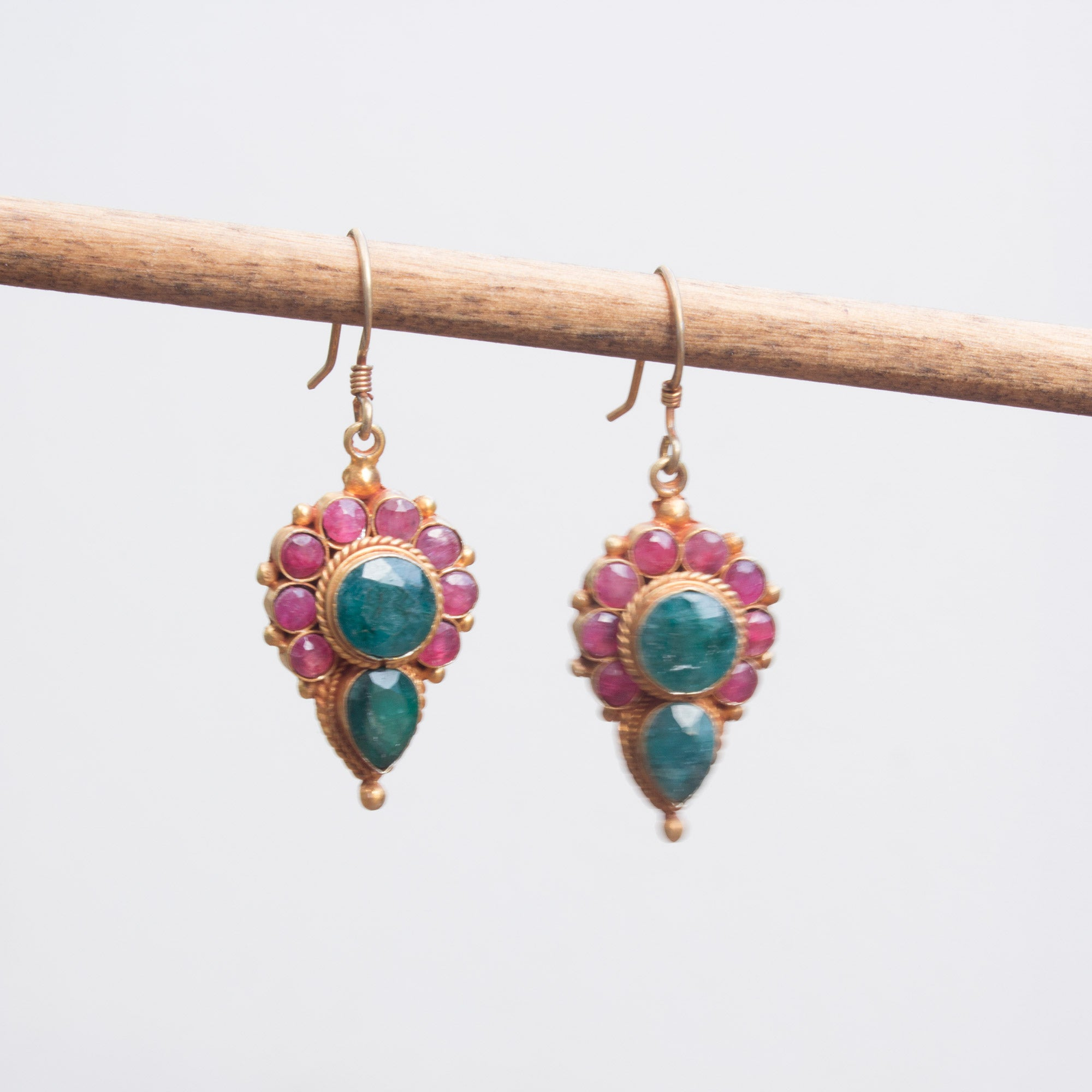 Ruby Emerald Earring