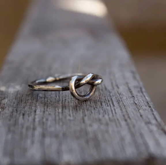 Sterling love knot ring