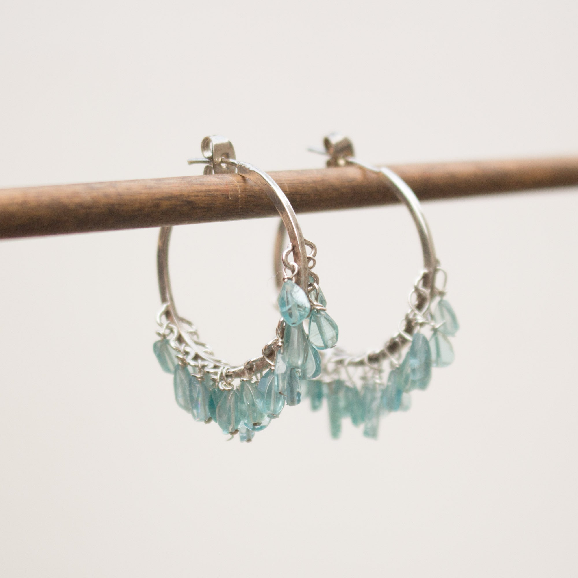 Blue apatite sterling silver hoops