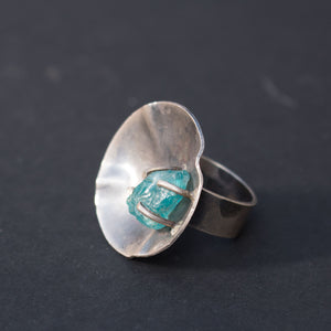 Blue Apatite crystal ring