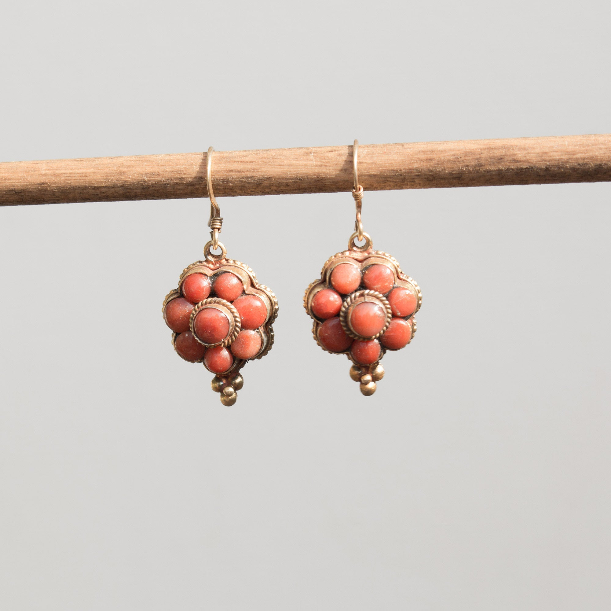 Coral Floral Earrings