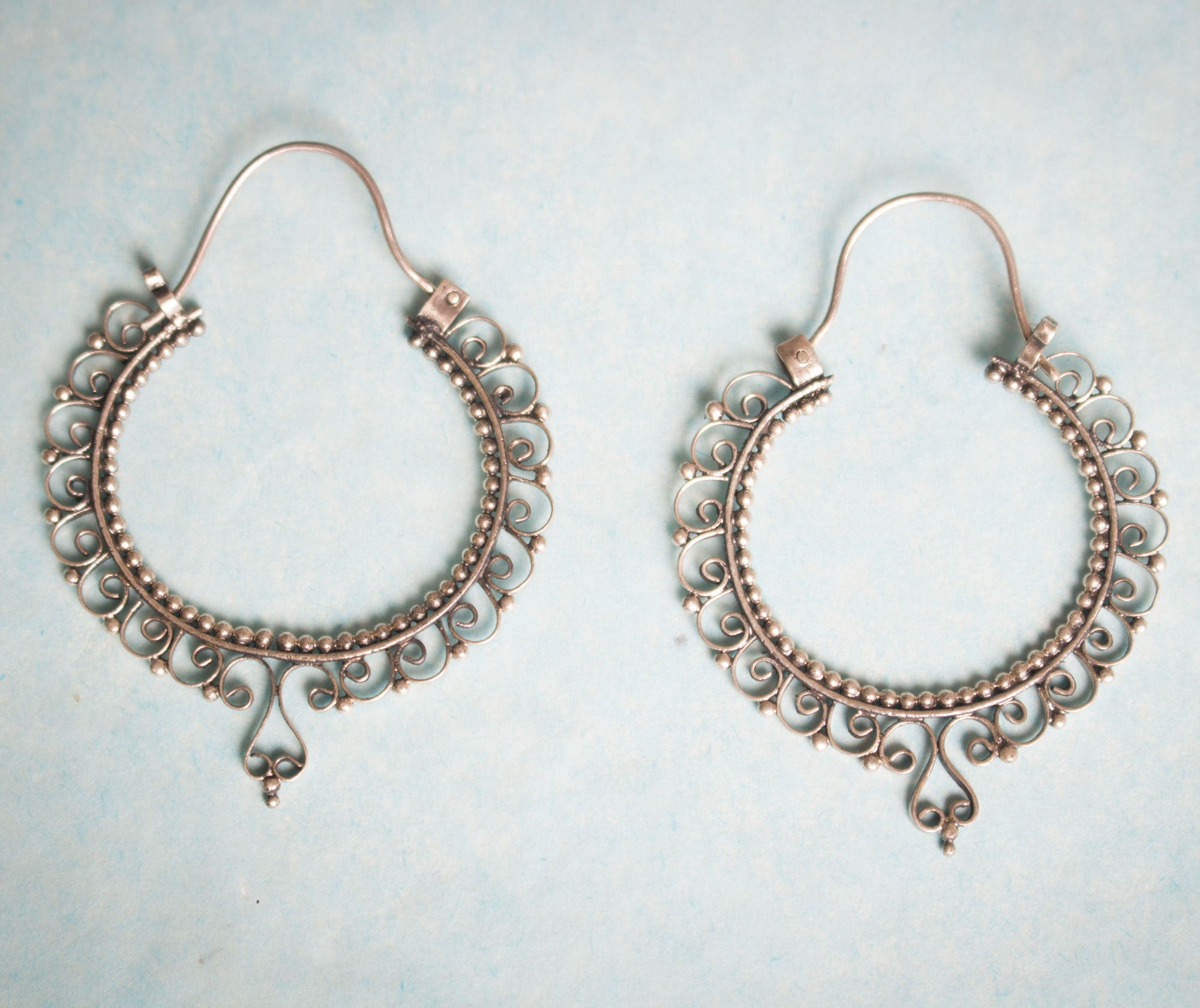 Floral Sterling Hoops Earrings