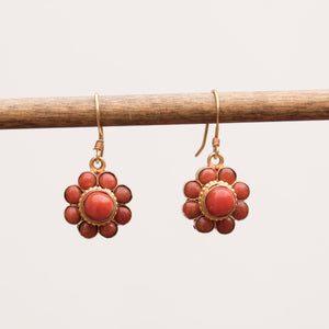 Flower Coral Drop Earrings