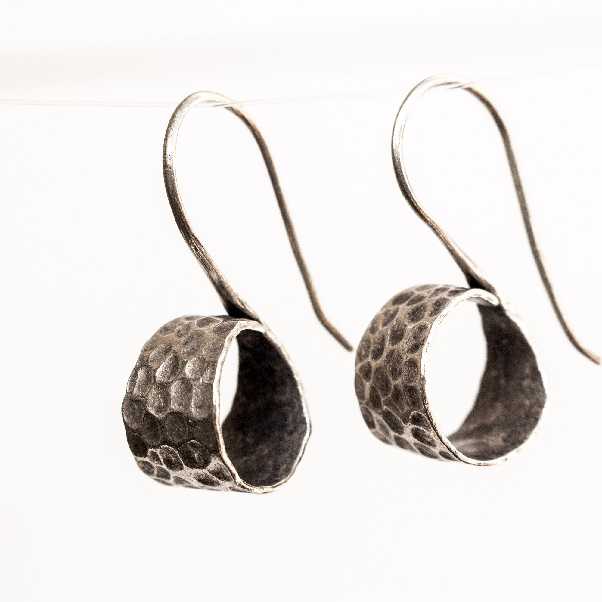 Hammered sterling silver scroll earrings