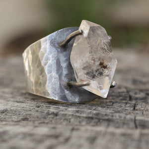 Herkimer Diamond Quartz hammered sterling silver ring
