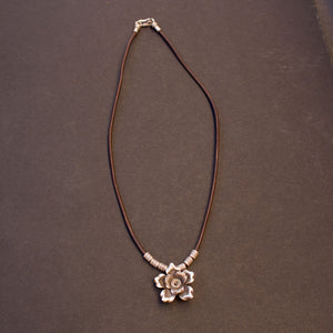 Sterling flower bud necklace