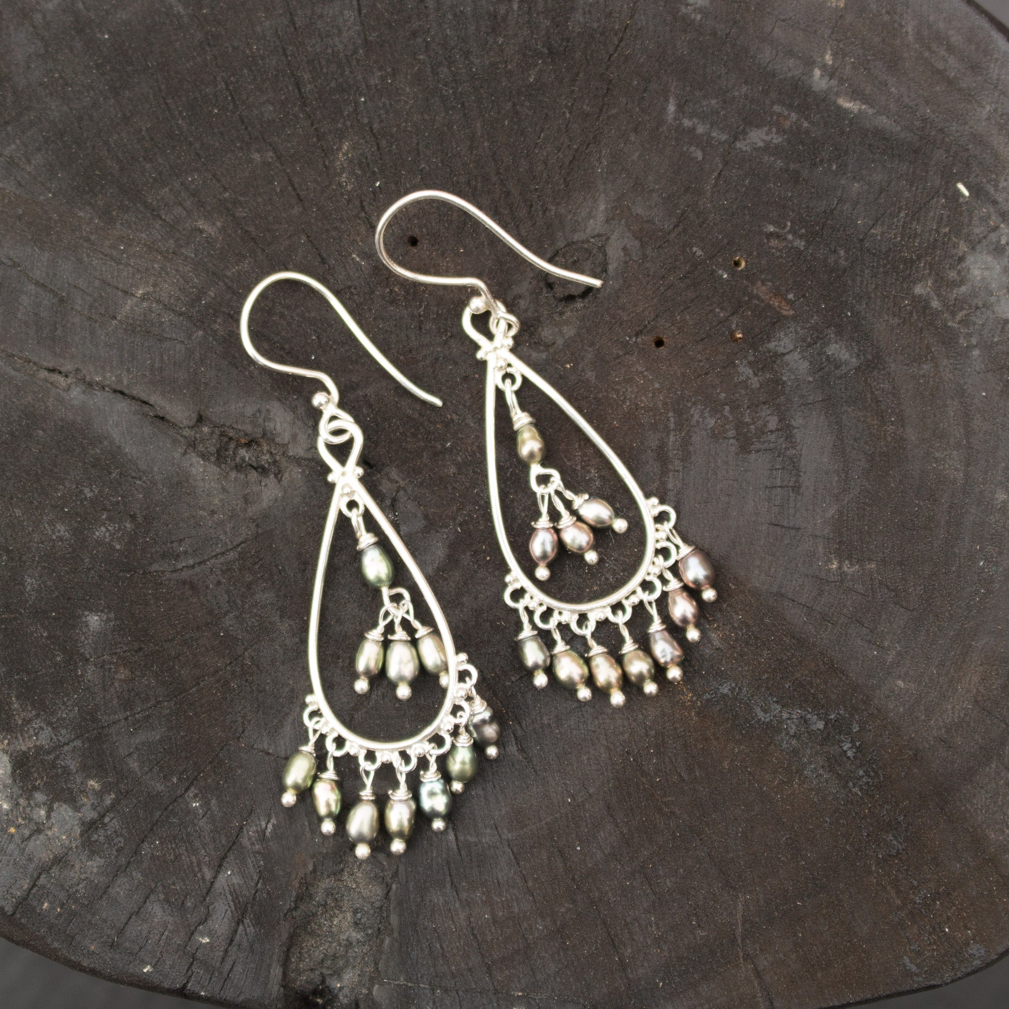 Chandelier pearl sterling silver earrings