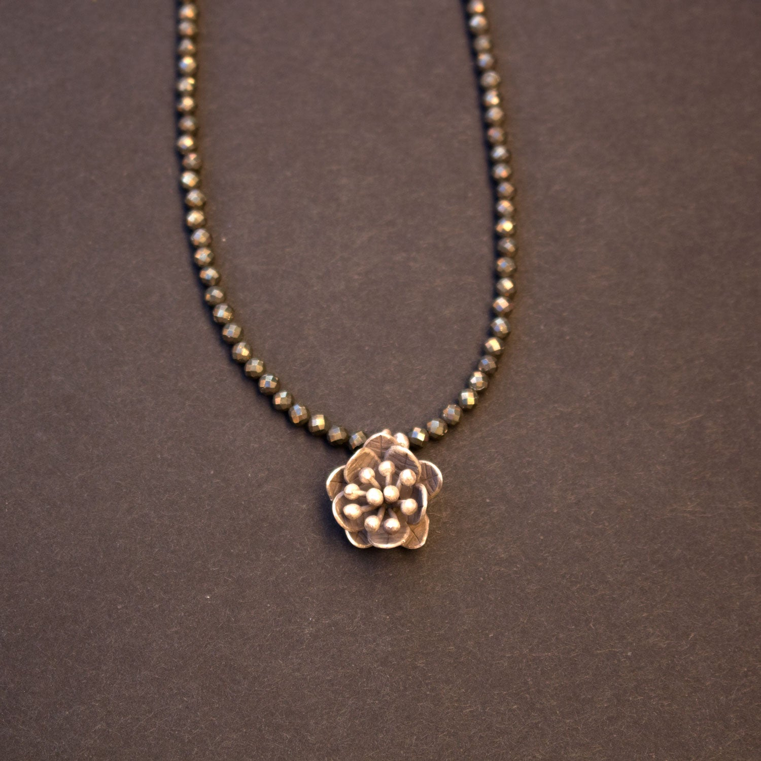 Pyrite sterling silver lotus necklace