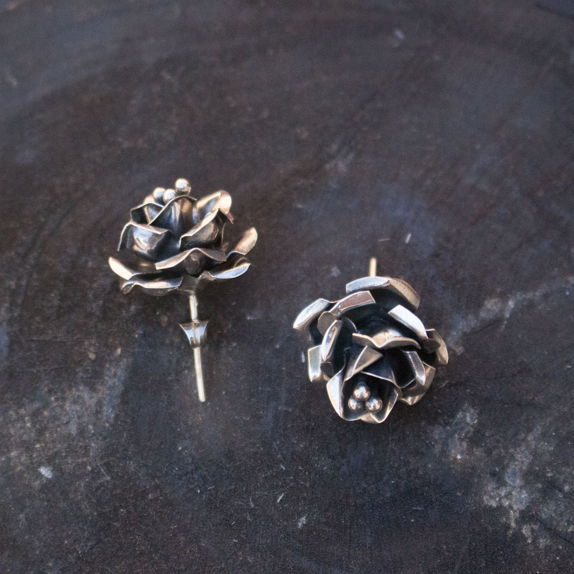Sterling Silver Rose bud Earrings