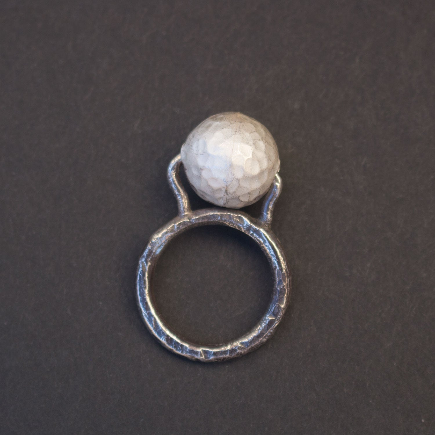 Hammered silver ball ring