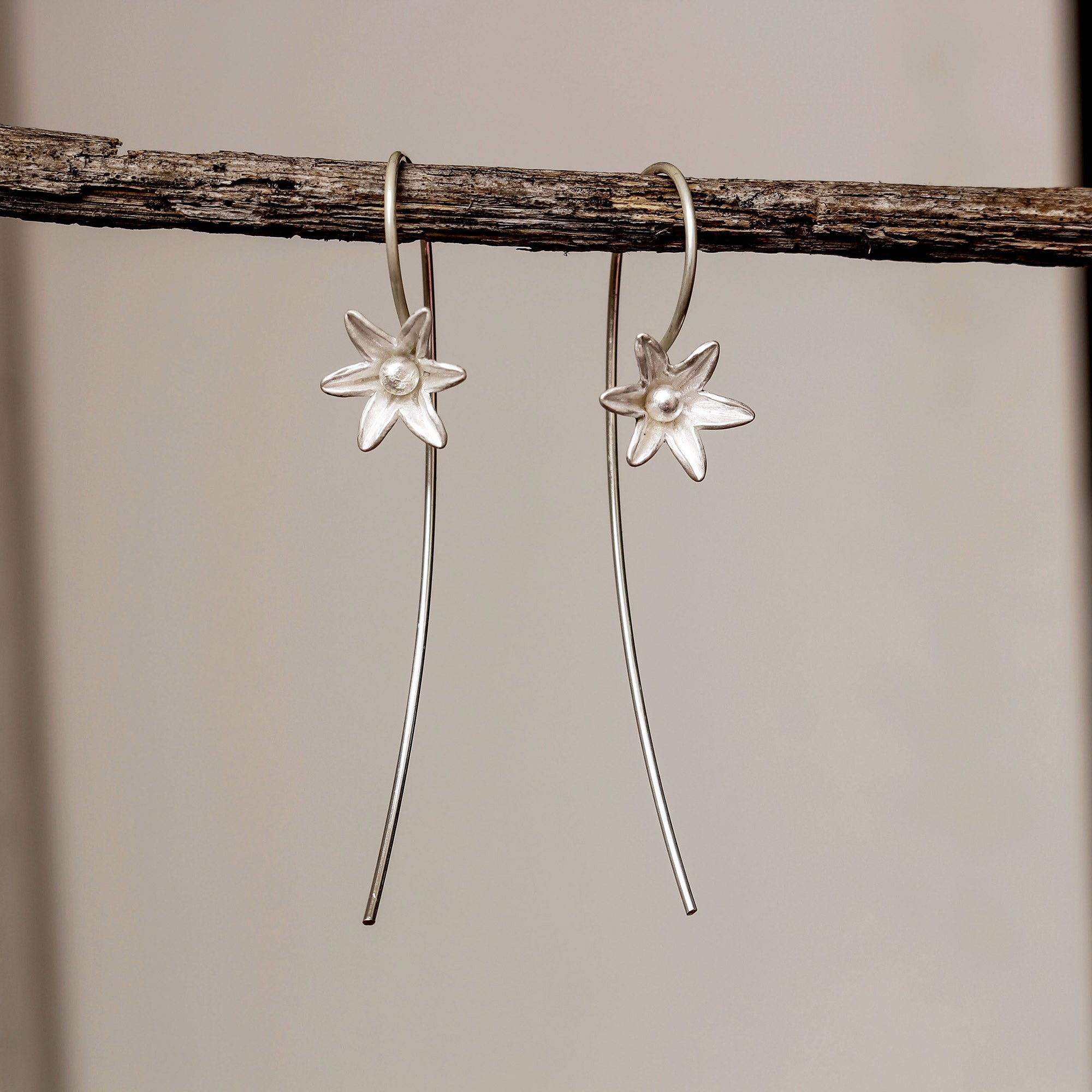 Sterling flower bud earrings