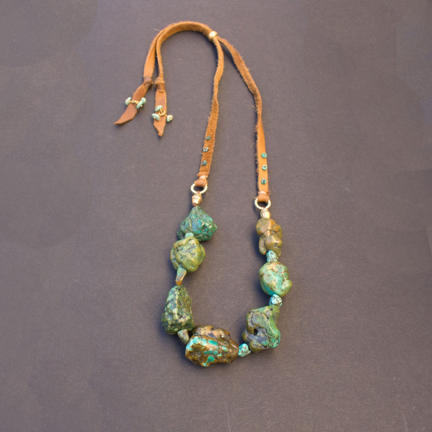 Raw turquoise leather necklace