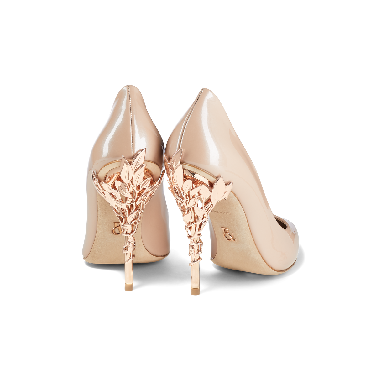 Pearl Pink Patent Leather Eden Heels with Rose Gold Leaves