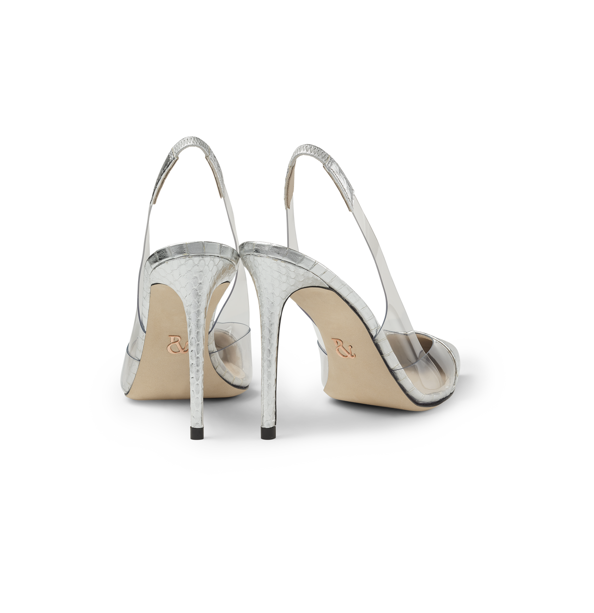 Silver Elaphe and PVC Slingback Pumps