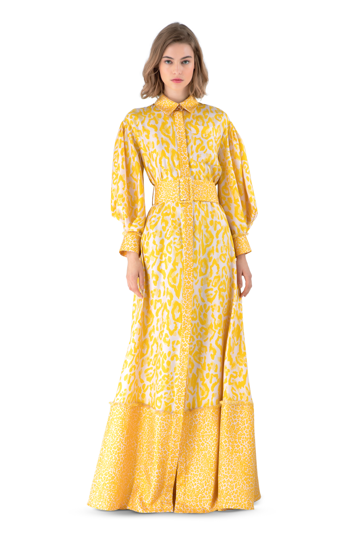 Mustard Leopard Print Silk Twill Maxi Shirt Dress
