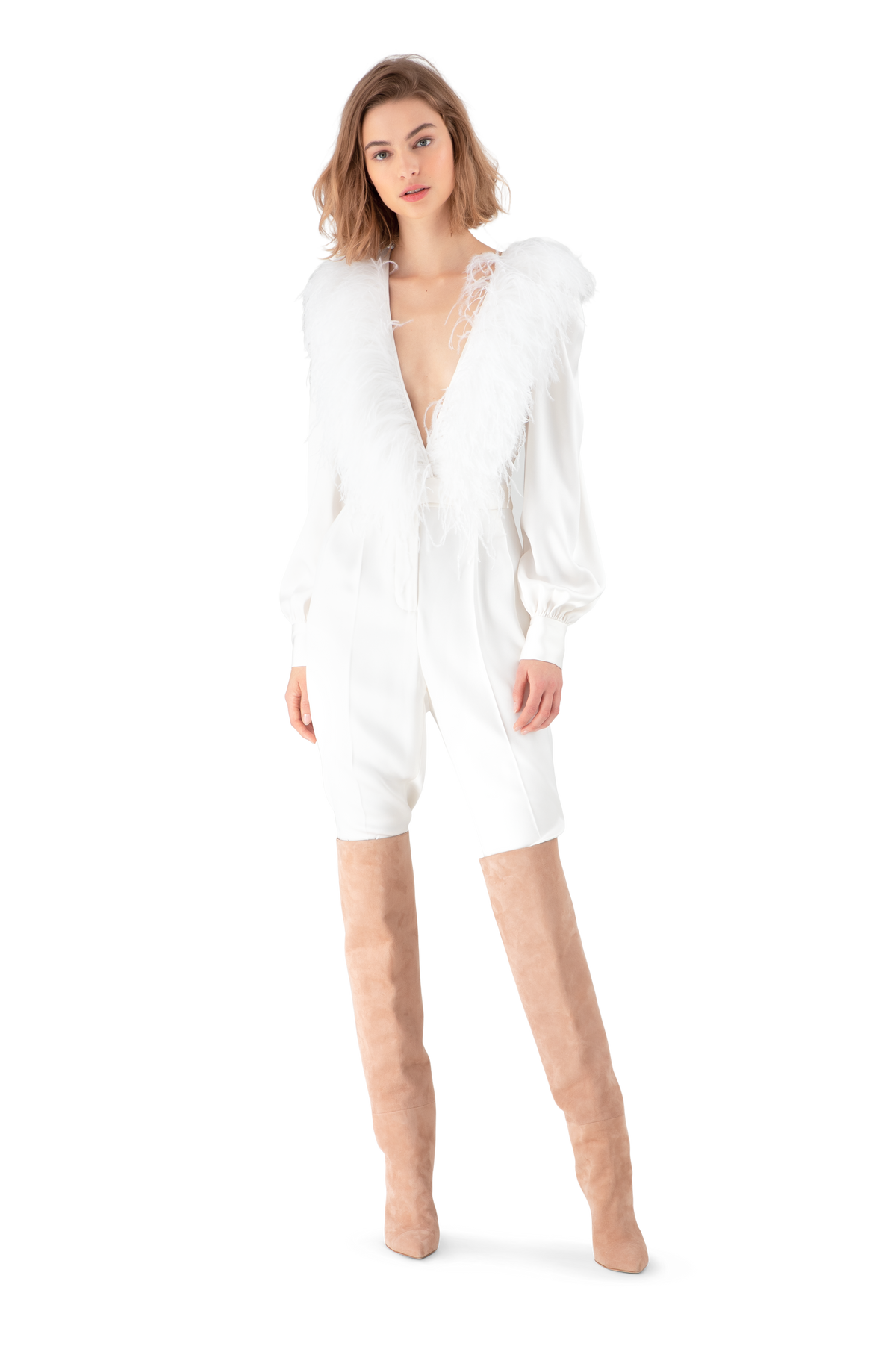 White Double Silk Satin Feather Embroidered Jumpsuit