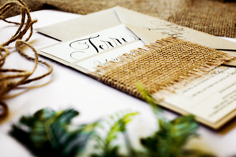 Rustic wedding invitation Australia