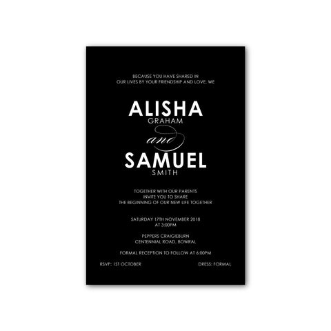 Alisha | Modern White Ink Wedding Invitation - ImpeccaBelle | Southern Highlands | Australia