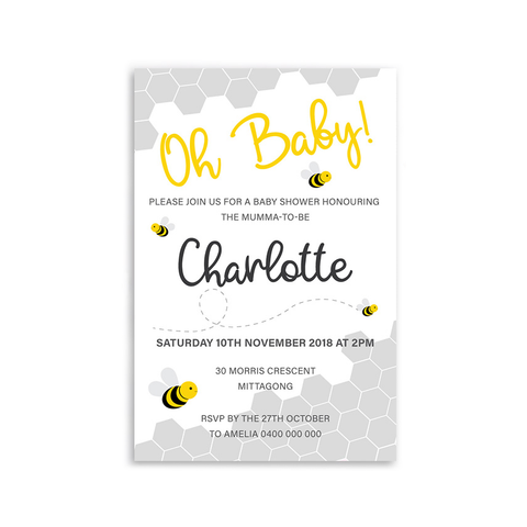 Charlotte | Bumble Bee Baby Shower Invitation - ImpeccaBelle | Southern Highlands | Australia