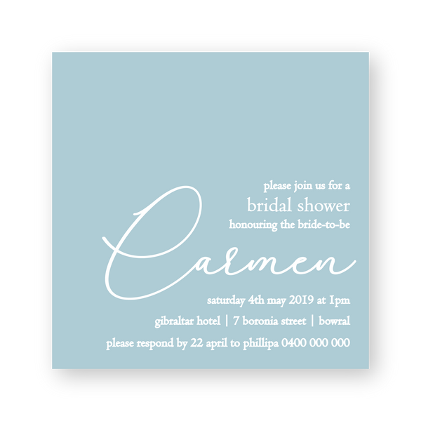 Carmen | Modern White Ink Bridal Shower Invitations - ImpeccaBelle | Southern Highlands | Australia