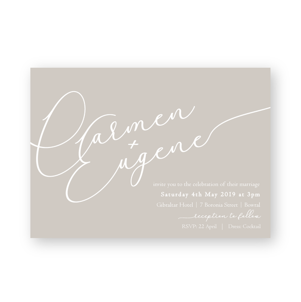 Carmen | Modern White Ink Wedding Invitation - ImpeccaBelle | Southern Highlands | Australia