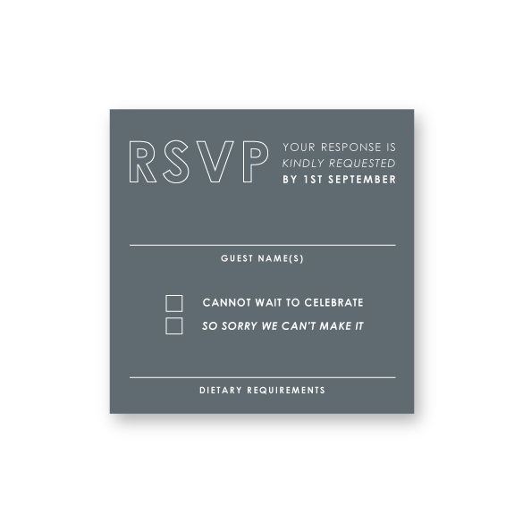 Casey - White Ink Bold wedding invitation - ImpeccaBelle | Southern Highlands | Australia