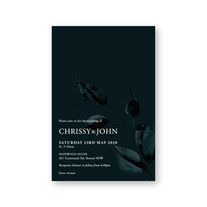 Chrissy | Dark Moody Luxurious Wedding Invitation Suite - ImpeccaBelle | Southern Highlands | Australia