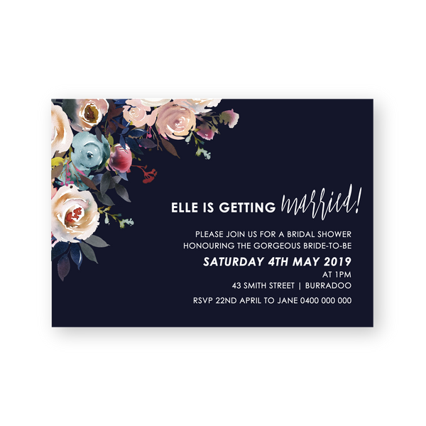 Elle | Rustic Floral Bridal Shower Invitation - ImpeccaBelle | Southern Highlands | Australia