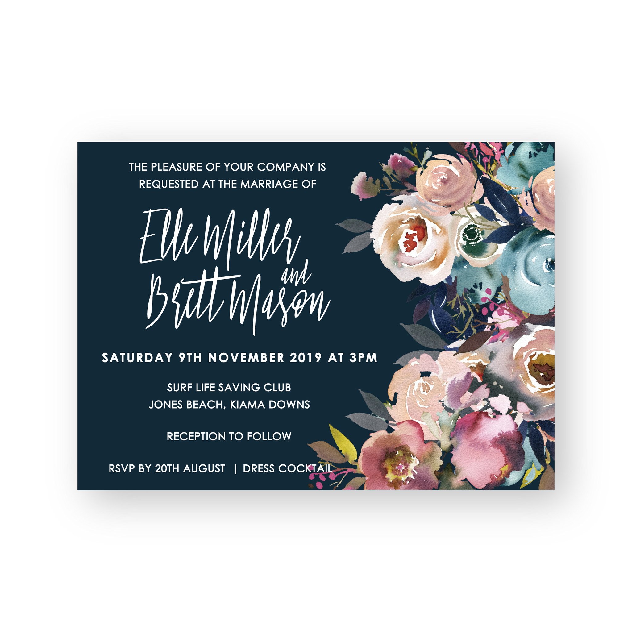 Elle | Floral Wedding Invitation - ImpeccaBelle | Southern Highlands | Australia