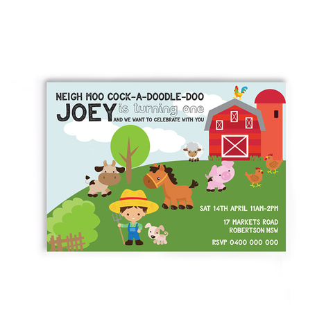 JoJo | Farm Birthday Invitation - ImpeccaBelle | Southern Highlands | Australia