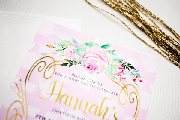 Hannah | High Tea 30th Birthday Invitation - ImpeccaBelle | Southern Highlands | Australia