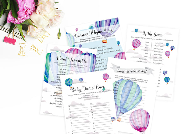 Baby Shower Game Bundle - Hot Air Balloon theme - Digital Download - ImpeccaBelle | Southern Highlands | Australia
