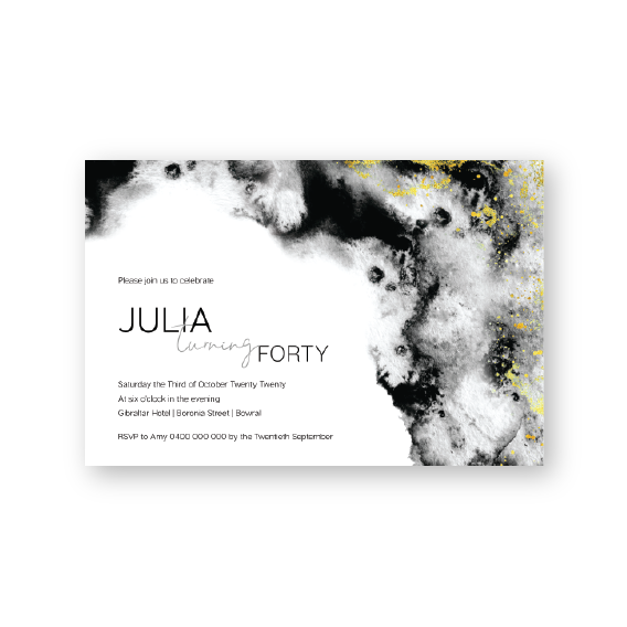 Julia | Birthday Invitation | Watercolour and gold | Milestone Birthday