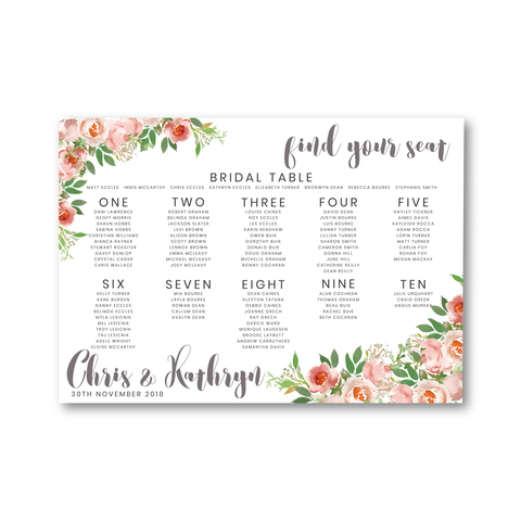 Kathryn | Wedding Seating Chart | Blush Florals - ImpeccaBelle | Southern Highlands | Australia